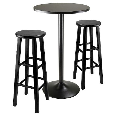 3 Piece Obsidian Bar Height Pub Table Set With Stools Wood Black 29 Winsome