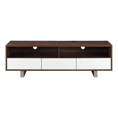 """Modern 3 Drawer Low Console TV Stand for TVs up to 65"""" Dark Walnut - Saracina Home"""