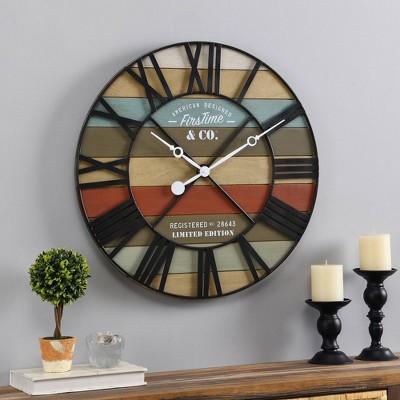 Colorful Maritime Farmhouse Planks Clock - FirsTime