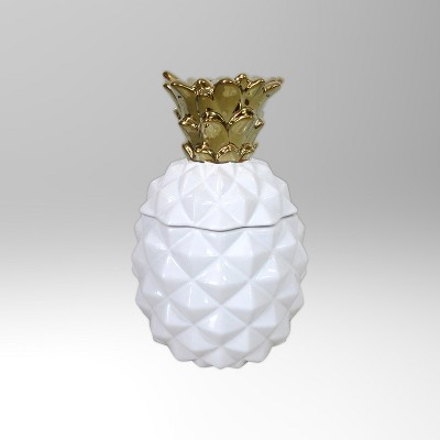 Stoneware Pineapple Cookie/Candy Jar 43oz White/Gold - Threshold™