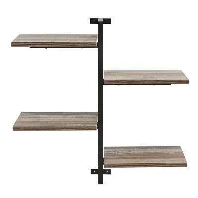 4-Tier Sienna Vertical Wall Shelf Unit Black/Rustic - Danya B.
