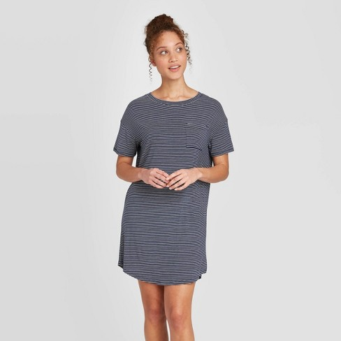 Women's Striped Short Sleeve Beautifully Soft Nightgown - Stars Above™ Navy - image 1 of 2