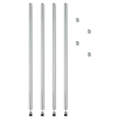 """Alera Stackable Posts For Wire Shelving, 36"""" High, Silver, 4/Pack SW59PO36SR"""