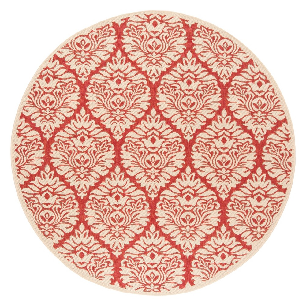6'7 Damask Loomed Round Area Rug Red/Cream (Red/Ivory) - Safavieh
