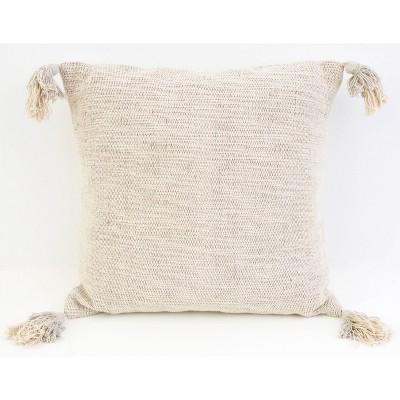 "20""X20"" Bradford Two-Tone Tassel Pillow Gray - Decor Therapy"