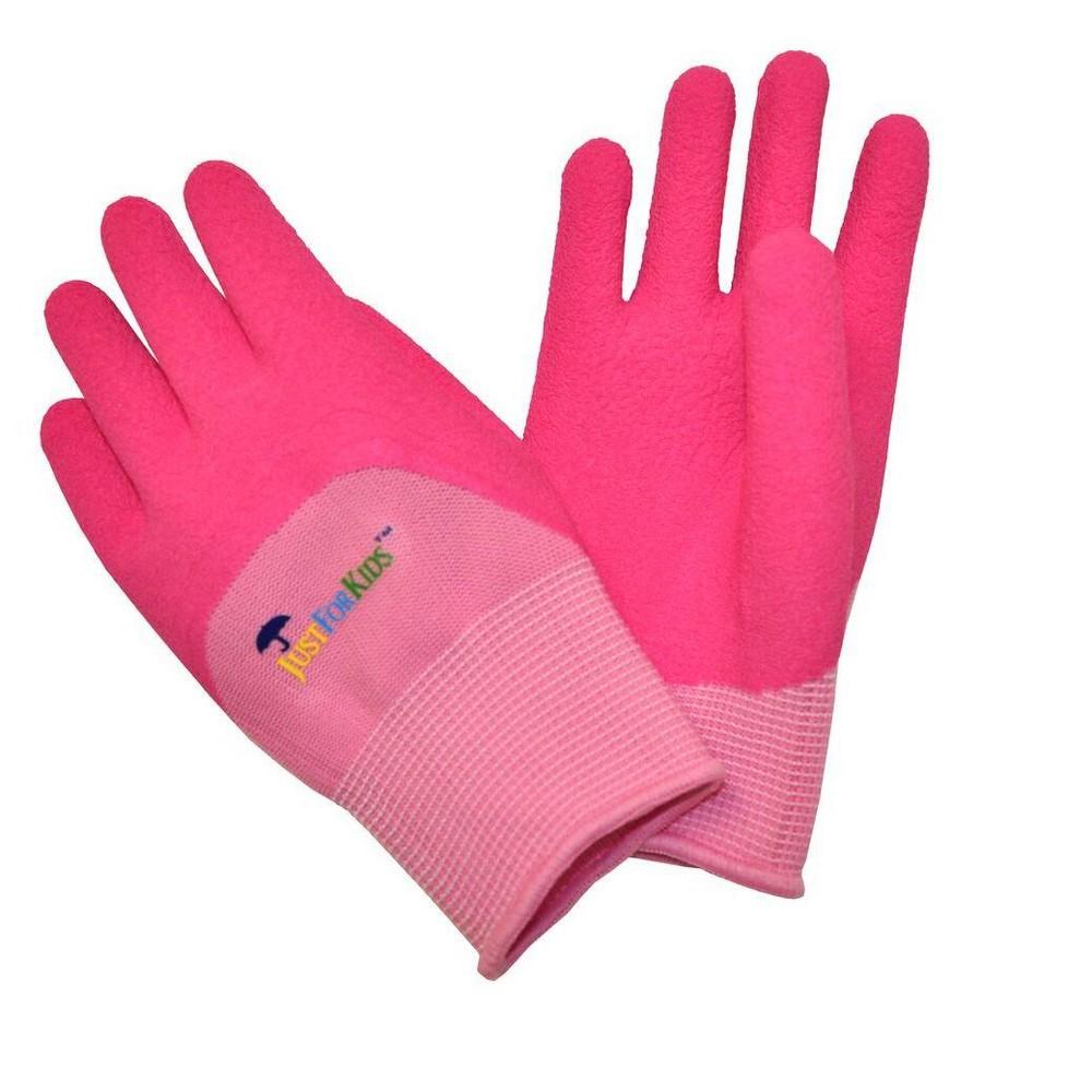 Image of Premium Microfoam Texture Coated Kids Garden Gloves - Pink - Justforkids