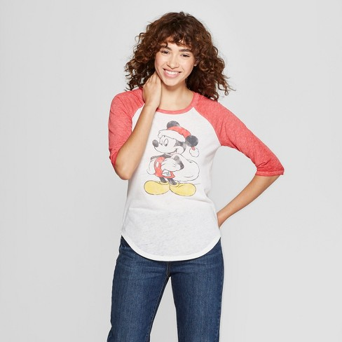 Women's Mickey Mouse 3/4 Sleeve Raglan Graphic T-Shirt (Juniors') White - image 1 of 2