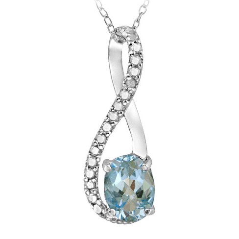 Sterling Silver Diamond Accent Blue Topaz Infinity Necklace - image 1 of 1