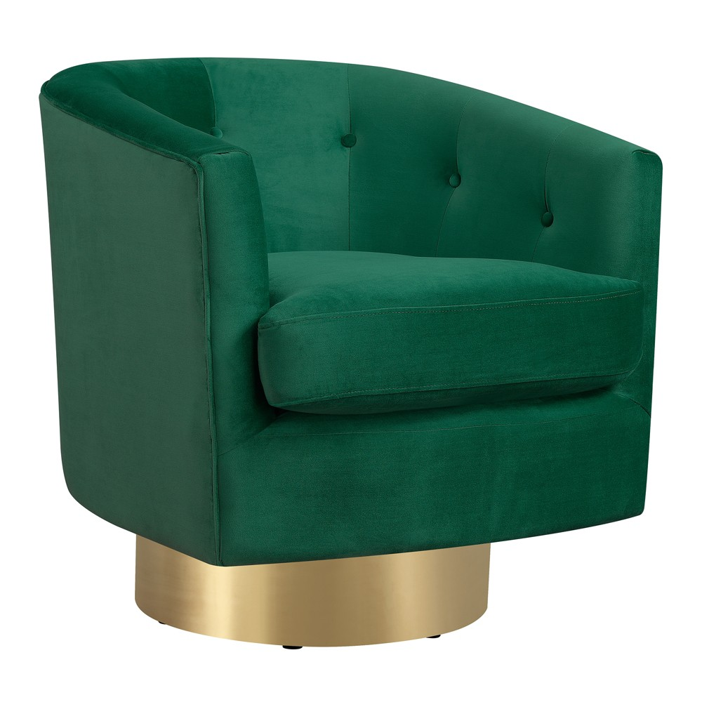 Carolina Swivel Accent Chair Emerald (Green) - Picket House Furnishings The Picket House Furnishings Carolina Button Tufted Swivel Accent Chair is the ultimate chic, swivel accent chair! The round, barrel style of the chair is a classic style that never goes off trend. The luxurious, velvet-like fabric elevates this chair to modern glam status and it feels great to the touch. Color: Emerald. Gender: Unisex. Pattern: Solid.