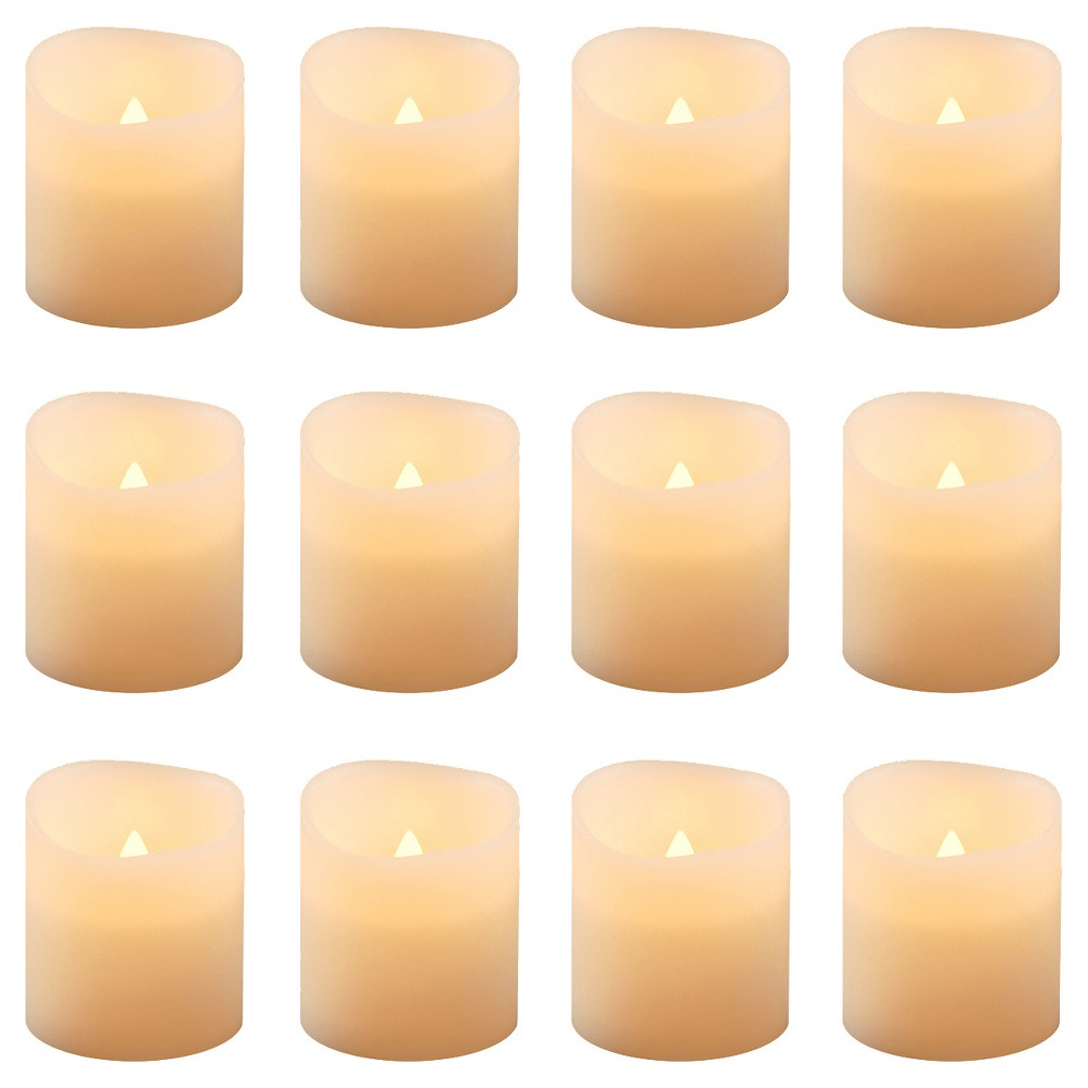 Image of 12ct Amber Battery Operated LED Votive Candles, White