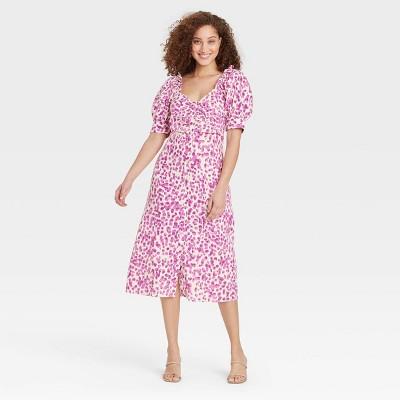 Women's Puff Short Sleeve Empire Waist Dress - Who What Wear™