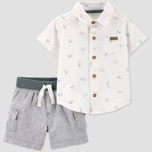 Baby Boys' Safari Top and Bottom Set - Just One You® made by carter's Off White/Gray - image 1 of 1