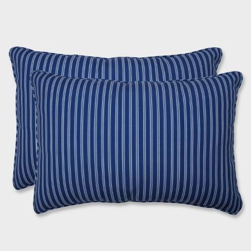 2pk Oversize Resort Stripe Rectangular Throw Pillows Blue - Pillow Perfect - image 1 of 2