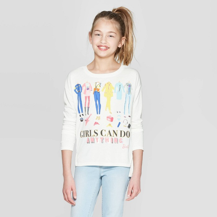 "Girls' Barbie 60th Anniversary ""Girls Can Do Anything"" Long Sleeve T-Shirt - Ivory - image 1 of 3"