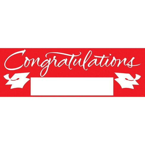 Red Congratulations Graduation Party Banner - image 1 of 2