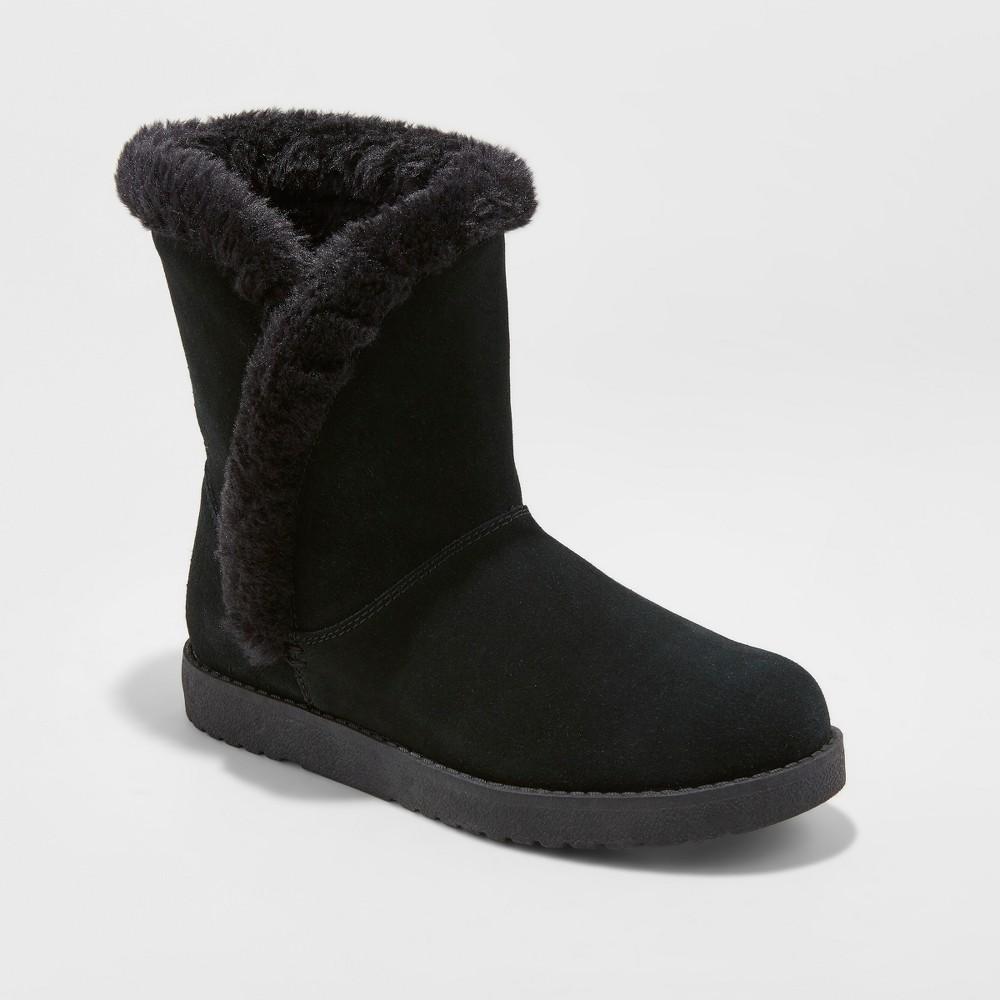 Women's Daniah Wide Width Suede Winter Boots - Universal Thread Black 8W, Size: 8 Wide