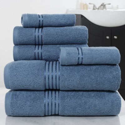 Solid Bath Towels And Washcloths 6pc Light Blue - Yorkshire Home