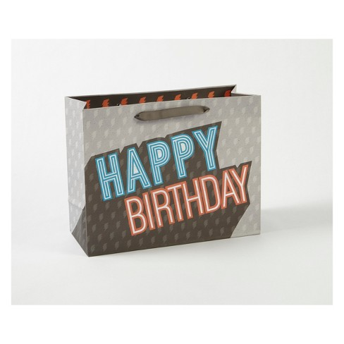 Happy Birthday Lines Large Vogue Gift Bag - Spritz™ - image 1 of 1