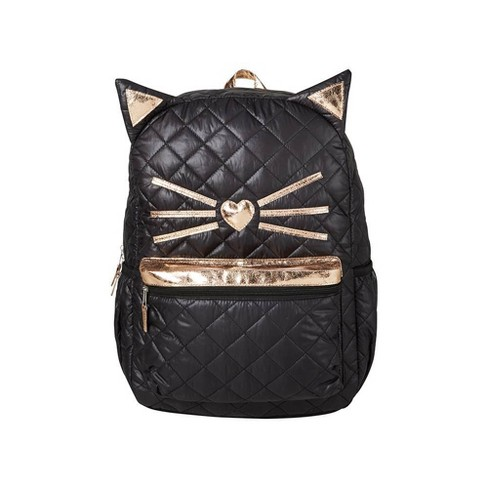 "16"" Quilted Cat Kids' Backpack - Black - image 1 of 5"