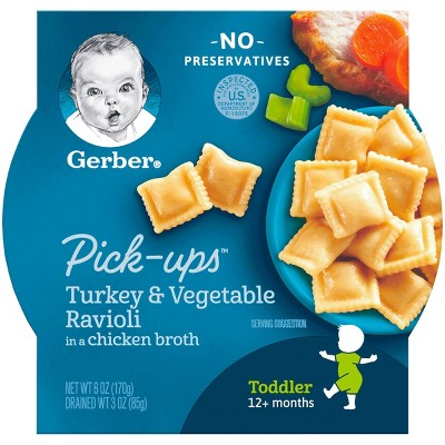 Gerber Toddler Pasta Pick-Ups Turkey & Vegetable Ravioli in a Chicken Broth Baby Meals - 6oz