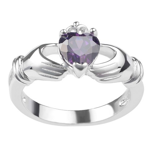 1/3 CT. T.W. Heart-Cut CZ Basket Set Celtic Claddagh Emblem Ring in Sterling Silver - image 1 of 4