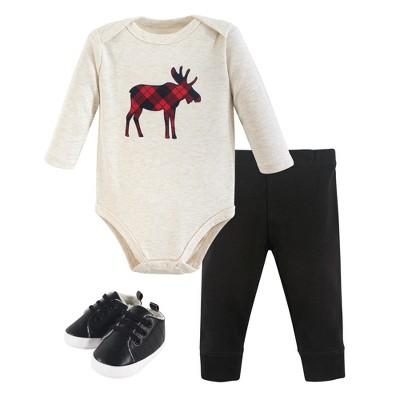 Hudson Baby Infant Boy Cotton Bodysuit, Pant and Shoe 3pc Set, Plaid Moose