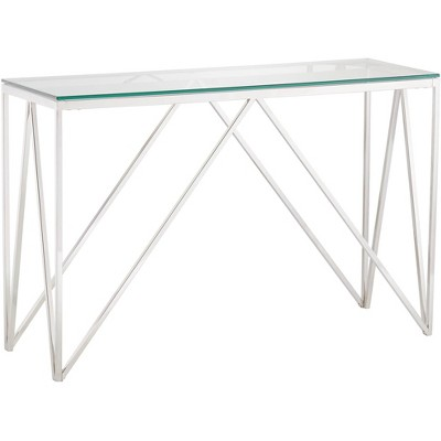 "55 Downing Street Luxor 47 1/4"" Wide Chrome and Glass Modern Console Table"