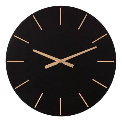 """24"""" Minimalist Wall Clock Black/Gold - Patton Wall Decor"""
