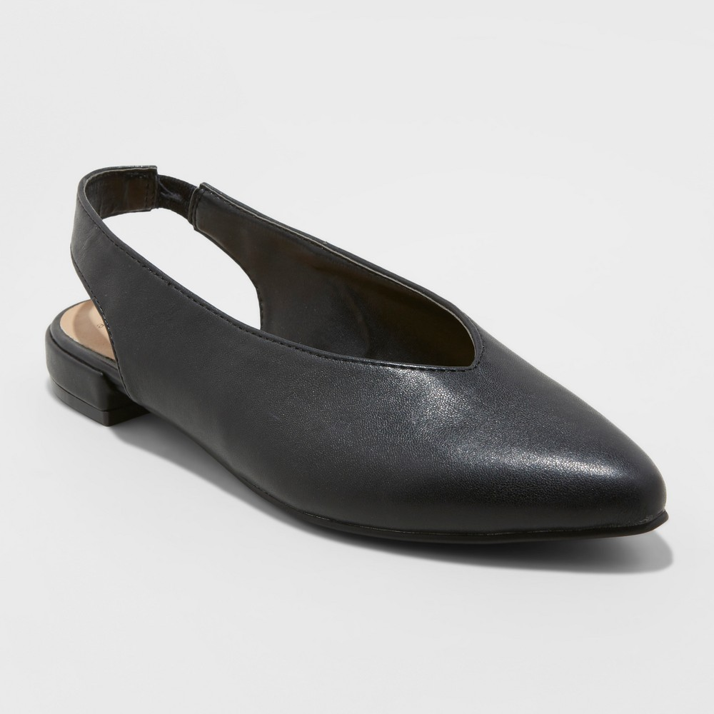 Women's Nicka Choked Up Sling Back Ballet Flats - A New Day Black 11