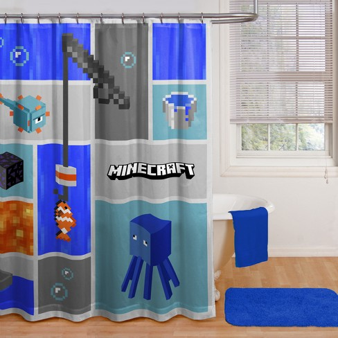 Minecraft Shower Curtain Blue - image 1 of 1