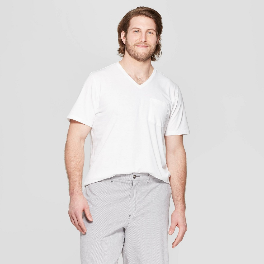 Mens Tall Standard Fit Short Sleeve Elevated Ultra-Soft V-Neck T-Shirt - Goodfellow & Co White MT Promos
