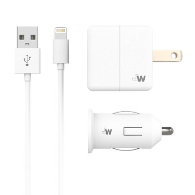 Just Wireless 1A/5W 1-Port USB-A Car & Home Charger  with 5ft TPU Lightning to USB-A Cable - White