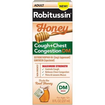 Robitussin Cough + Chest Congestion DM MAX Relief Liquid - Dextromethorphan - Honey - 8 fl oz
