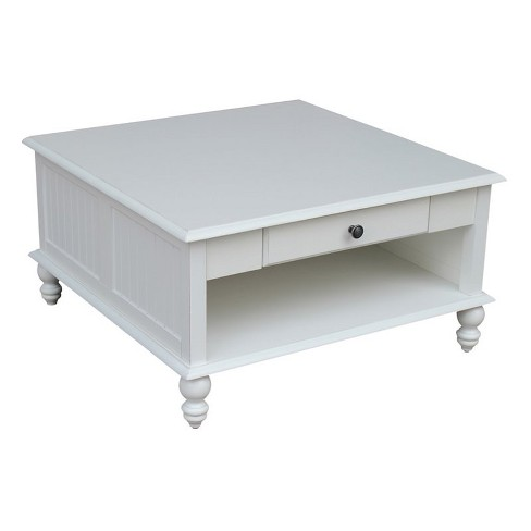 Wood Cottage Square Coffee Table in Beach White-International Concepts - image 1 of 3