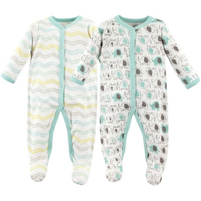 Luvable Friends Baby Cotton Snap Sleep and Play 2pk, Elephants