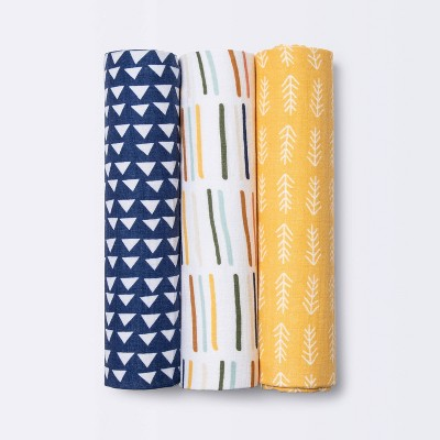 Muslin Swaddle Blankets Primary - Cloud Island™ Navy/Yellow 3pk