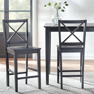"""Set of 2 24"""" Virginia Counter Height Barstools Black - Buylateral"""