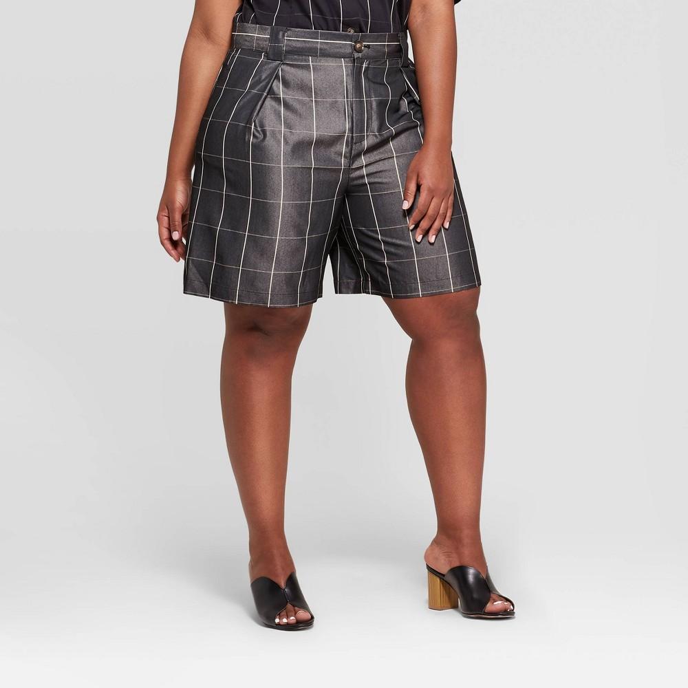 Women's Plus Size Minimalist Plaid Bermuda Shorts - Who What Wear Black 16W