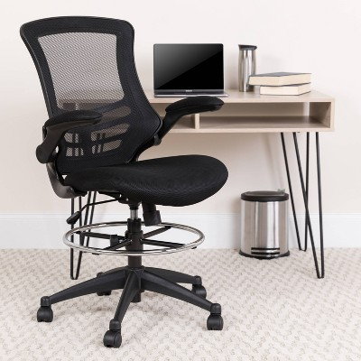 Mid Back Ergonomic Drafting Chair with Adjustable Foot Ring Black - Riverstone Furniture