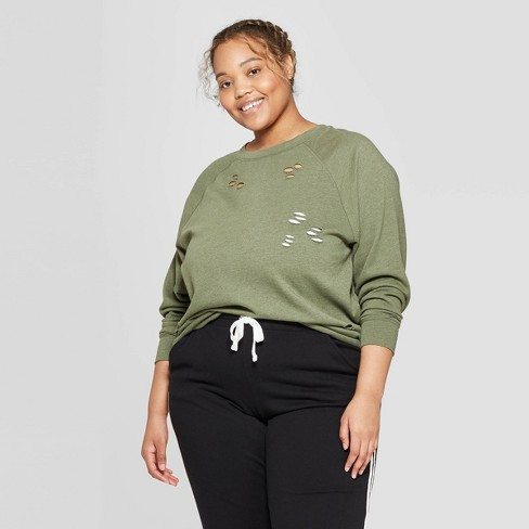 69668f9fa75 Women s Plus Size Oversized Lounge Sweatshirt - Colsie™ Green   Target