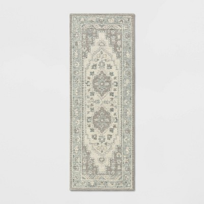 "2'4""X7' Runner Wool Tufted Geometric Persian Rug Gray - Threshold™"