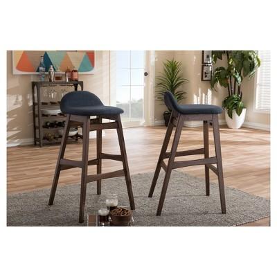 "2pc 30"" Fabric Upholstered Wood Finishing Barstool Dark Blue - Baxton Studio : Target"