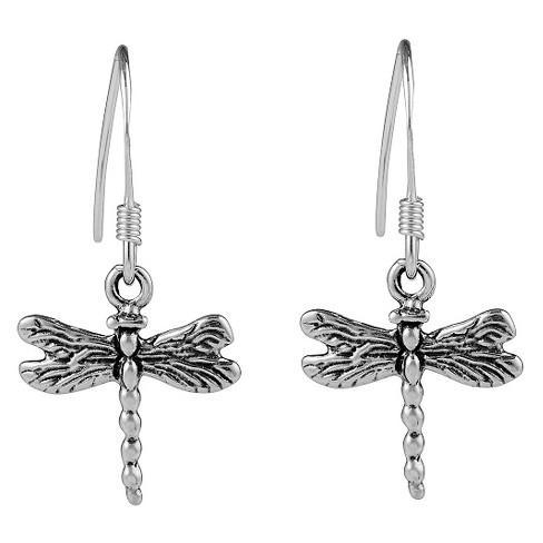 Women's Journee Collection Sterling Silver Textured Dragonfly Emblem Dangle Earrings - Silver - image 1 of 2