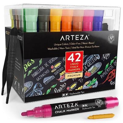 Arteza Replaceable Tip Liquid Chalk Markers Art Supply Set, Various Colors - 42 Piece
