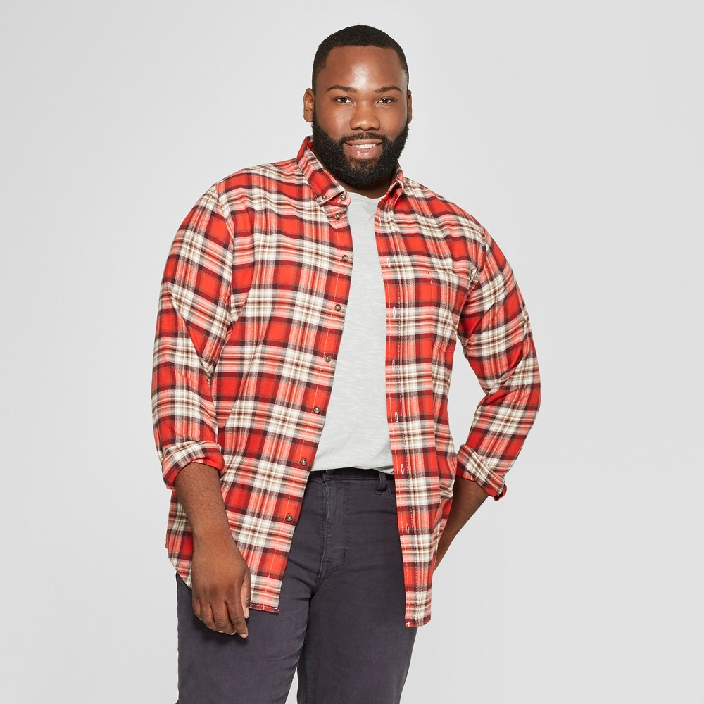 Men's Big & Tall Plaid Standard Fit Long Sleeve Pocket Flannel Button-Down Shirt - Goodfellow & Co Orange 4XB