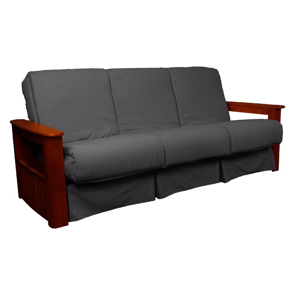 Flip Top Arm Perfect Futon Sofa Sleeper Mahogany Wood Finish Slate Gray - Epic Furnishings