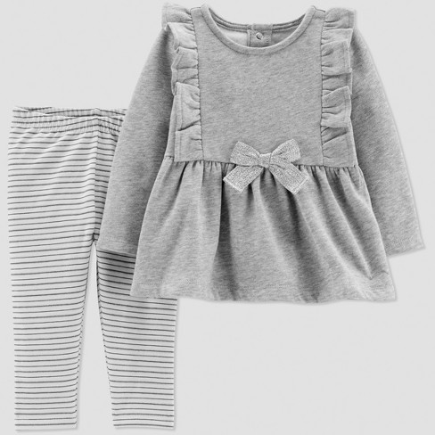 Baby Girls' 2pc Fleece Bow Set - Just One You® made by carter's Gray 6M - image 1 of 1