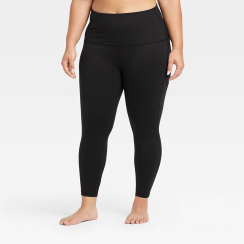 """Women's Plus Size Contour Curvy High-Rise 7/8 Leggings with Power Waist 25"""" - All in Motion™ Black 1X - image 1 of 4"""