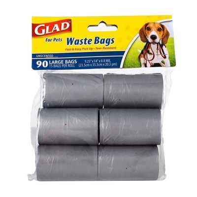 Glad Unscented Dog Waste Bags Refill Rolls - 90ct