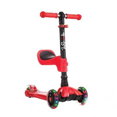 LaScoota Toddler Girl and Boy Kids Adjustable Kick Scooter with Light Up Wheels and Removable Seat,(Red)